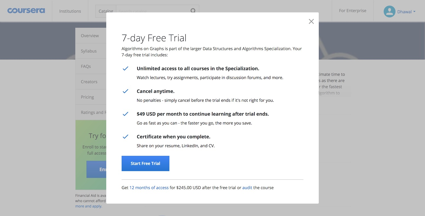 Coursera Introduces Free Trial for Specializations, Financial Aid Applications Now Take at Least 15 Days