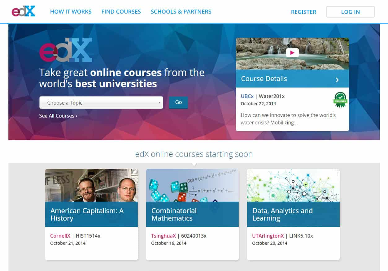 edX Old Homepage