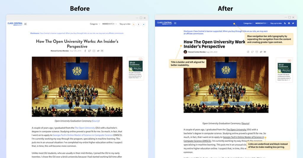 MOOCReport Before/After Article Page